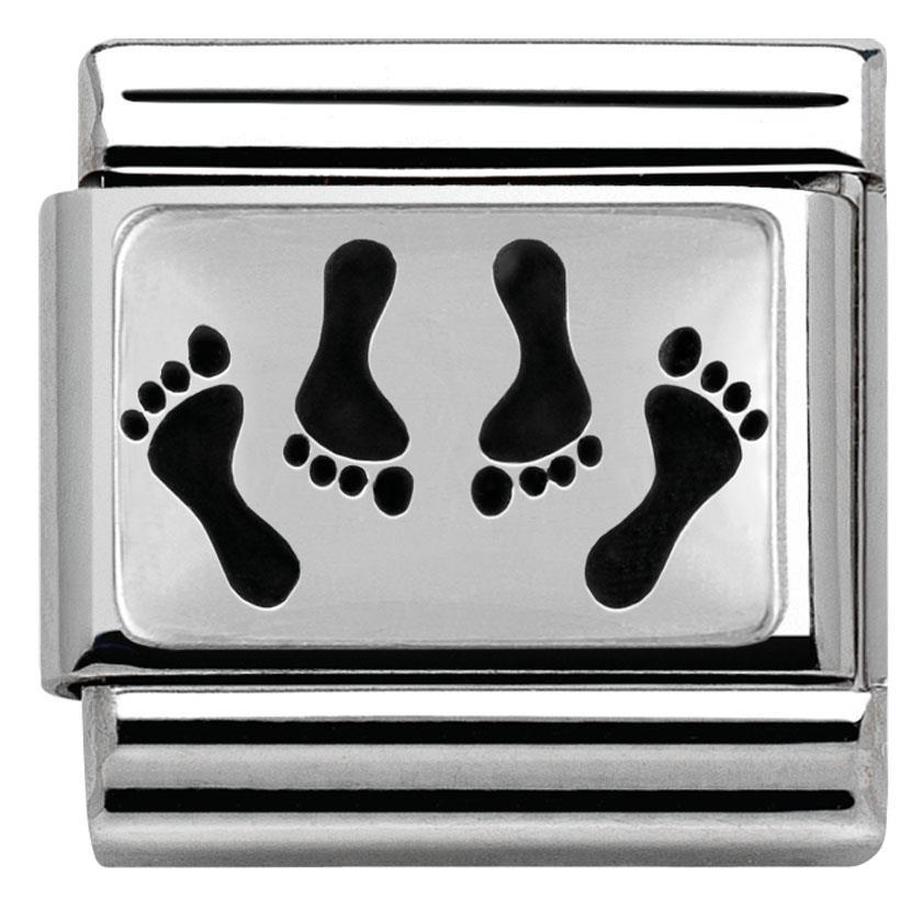 echt nomination composable classic oxidierte plattchen 4 fussen 330102 09 ebay. Black Bedroom Furniture Sets. Home Design Ideas