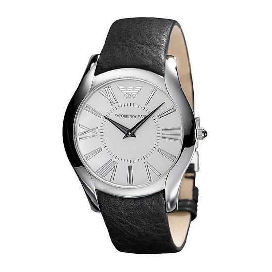 Emporio Armani Mens AR2020 Classic Black Leather Band Watch